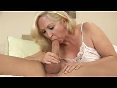 Blonde Granny Likes the Taste of Cum