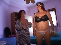 Two chubby mature bitches have fun with two lewd dudes