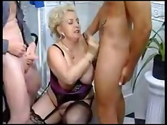 Blonde BBW Threesome In Bathroom