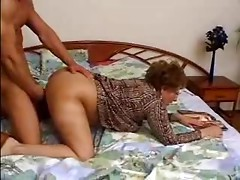 Bushy Granny Catches Grandson Jacking