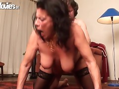 Rough sex with a busty mature brunette