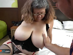 Agedlove grandmother with large whoppers gangbanged