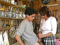 brunette, handjob, granny, old and young
